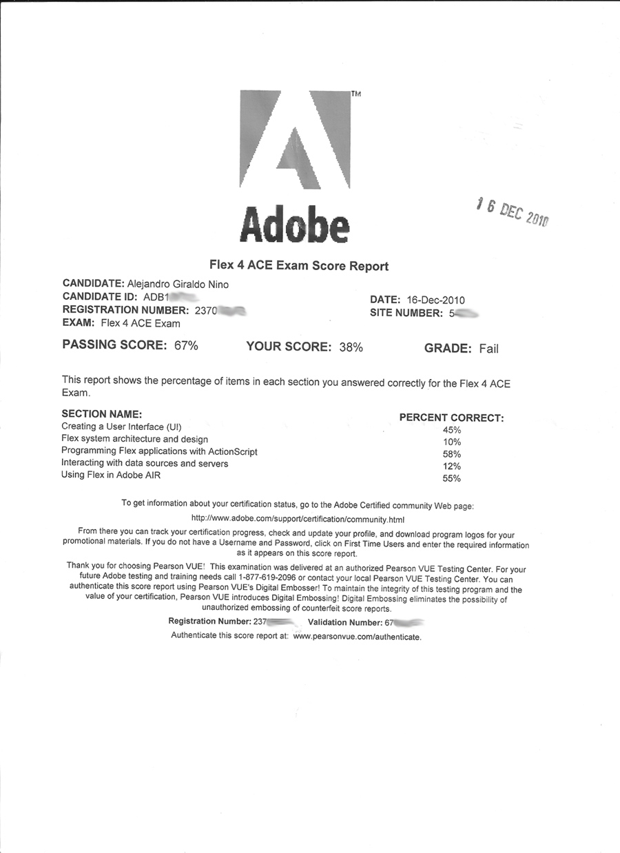 Alex Nino 9A0-129 Adobe Flex 4 ACE exam result